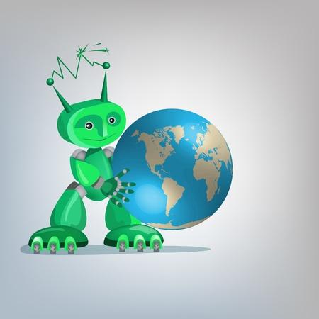 terrestre: Green Eco-robot carattere con il globo terrestre.