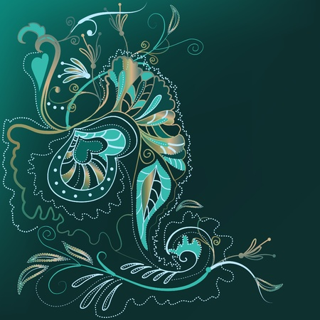 Decorative ornamental background with organic stylized motives.  Vector