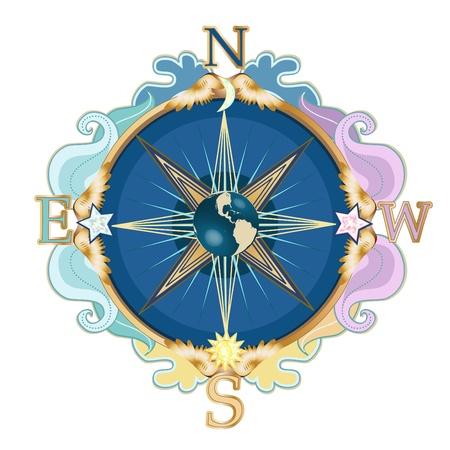 Beautiful styled wind rose, symbol of travels.  Illustration