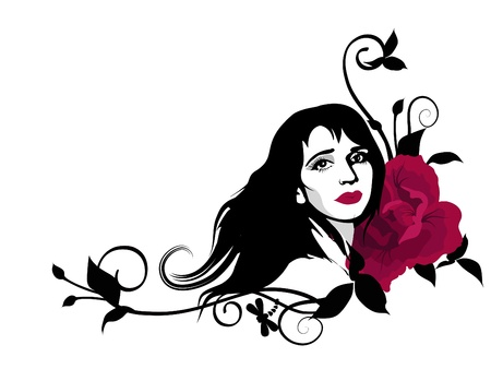 Stylish clipart with beautiful girl face, swirls and red rose flower.  Stock Vector - 10548518