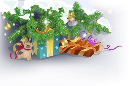 Festive background with presents and toy under Christmas tree branches. Stock Vector - 10548519