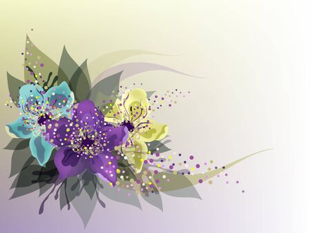 transparence: Beautiful background with three colorful flowers.