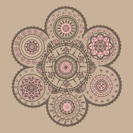 symmetrical design: Symmetrical decorative complicated cycle ornament.  Illustration