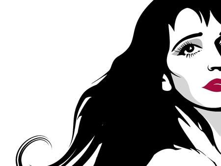 dark hair: Fondo elegante con fragmento de cara de chica con cabello largo oscuro.