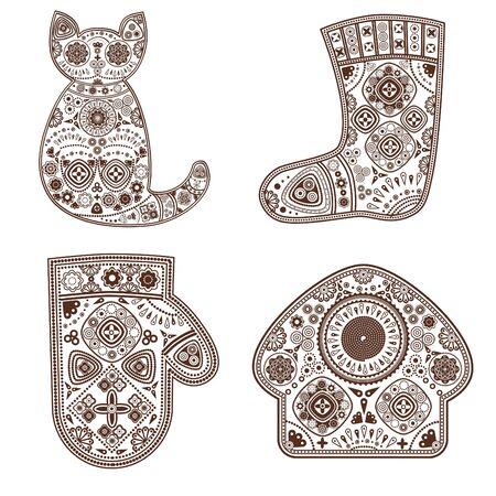Set of decorative ornamental festive complicated elements.