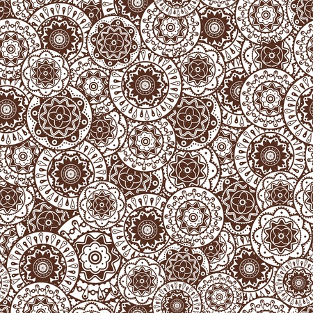 sepia: Graphic decorative seamless background with geometric patterns.
