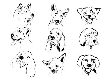 sentimientos y emociones: Conjunto de diferentes perros amigables caras bocetos gr�ficos. Vectores