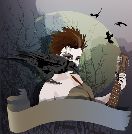 Young girl is playing guitar with raven sitting on her shoulder.  Vector
