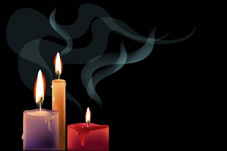 smock: Black background with colorful candles and decorative smock. Illustration