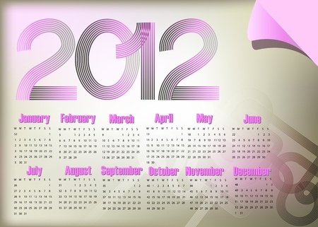 Stylish abstract calendar on 2012 year.  Vector