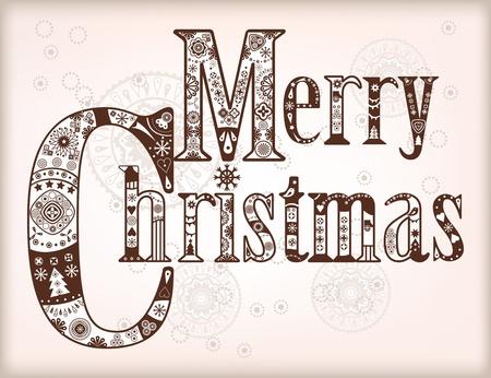 Merry Christmas festive decorative graphic title.  Vector