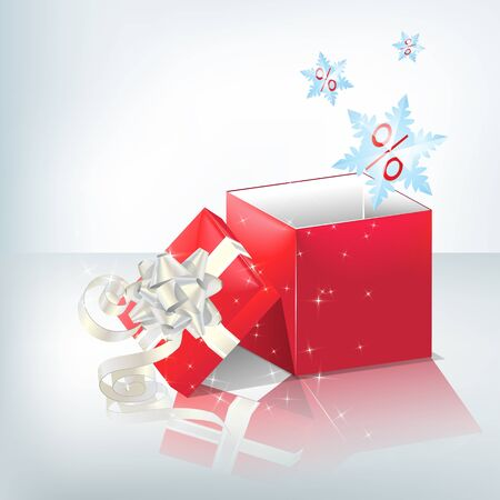 transparence: Festive red box with light silver bow.