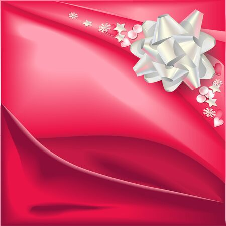 holyday: Light silver bow on red silk glossy background.