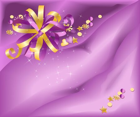 holyday: Violet and golden bow on light violet silk glossy background.