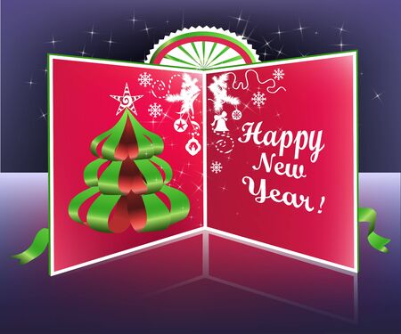 Colorful New Year postcard with  paper Christmas tree.  Vector