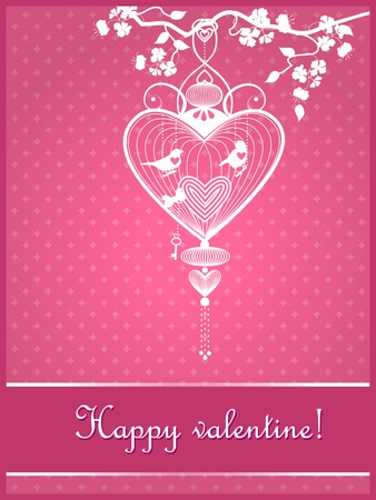 Happy valentine festive pink postcard with cage and birds. Vector