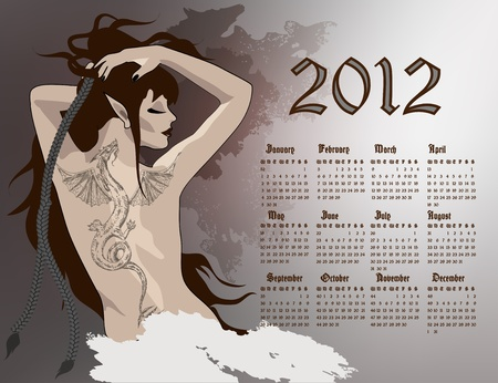 2012 year calendar, girl with dragon tattoo.  Vector
