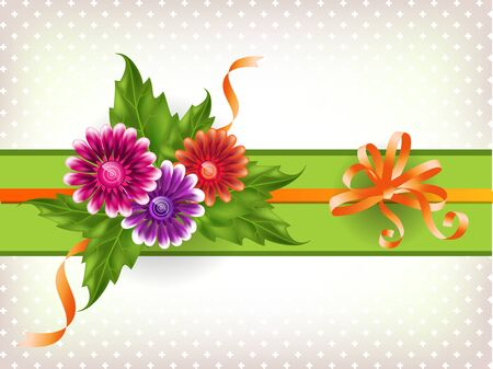 Vintage background with multicolored gradient mesh flowers. Illustration