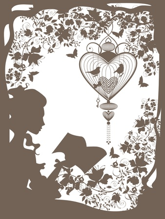 Vintage graphic illustration with girl character reading book.  Vector