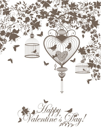 Stylish valentine background with decorative cages and birds. Vector