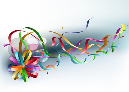 Stylish colorful background with rainbow bow and ribbons.  Vector