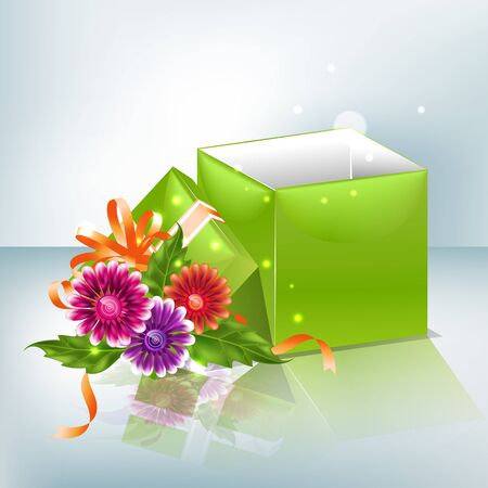 Festive background with multicolored gradient mesh flowers and green box. Vector