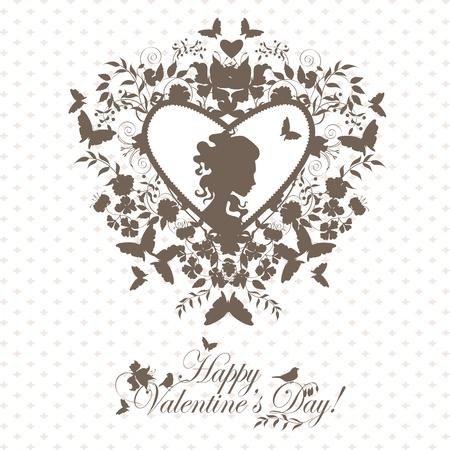 donna farfalla: Elegante sfondo san valentino con il cuore decorativo e volto ragazza. Vettoriali