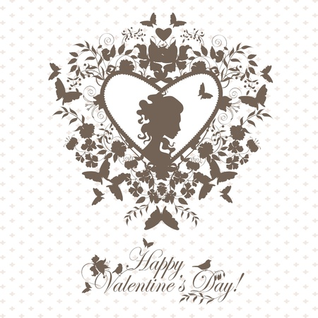 lady s: Stylish valentine background with decorative heart and girl face. Illustration