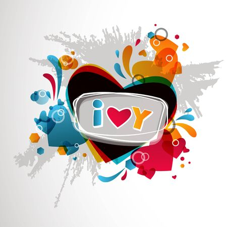 Stylish abstract  colorful I love you background. Illustration