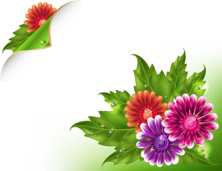 with space for text: Fresh background with multicolored gradient mesh flowers and green leafs.