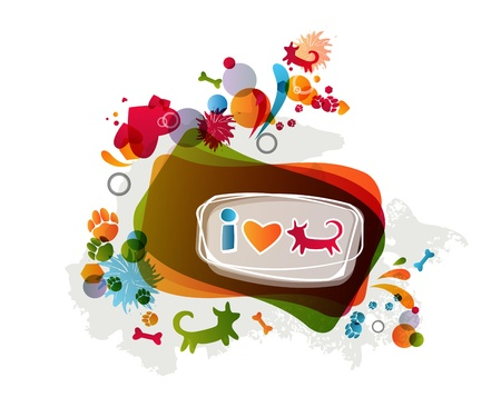 Stylish abstract  colorful I love dogs background. Vector