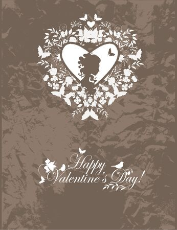 Stylish valentine background with decorative heart and girl face. Vector