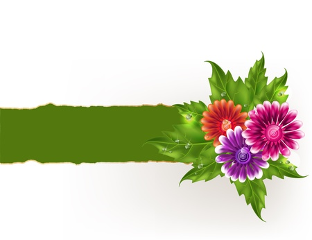 with space for text: Background with multicolored gradient mesh flowers and green torn edge paper. Illustration
