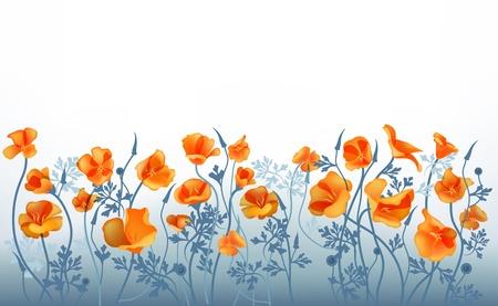 to refine: Refine blue background with orange flowers.