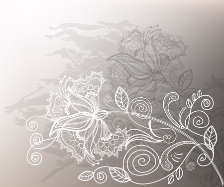 refine: Refine wedding background with lace decorative white flower.  Illustration
