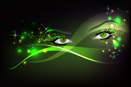 magic eye: Dark background with beautiful green glamour shining sparked eyes.