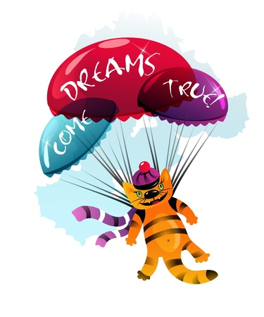 Festive funny illustration with flying cat.  Illustration