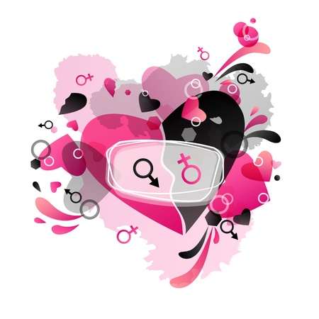 contradiction: Festive Valentine black, pink background with heart pattern and Venus and Mars symbols.