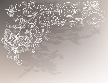 Refine wedding background with lace decorative white flower.  Illustration