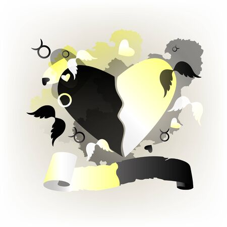 Festive Valentine black, white background with heart pattern. Vector