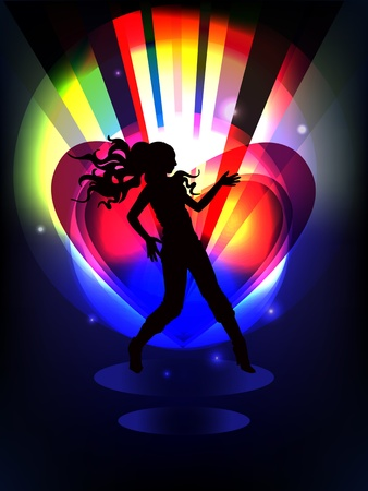 discotheque: Stylish multicolored background with dancing girl black silhouette.