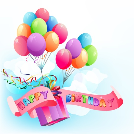 Happy birthday festive background with multicolored air balloons.