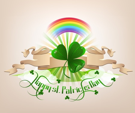 irish landscape: Happy st. Patrickes Day background with green trefoil, rainbow and text.