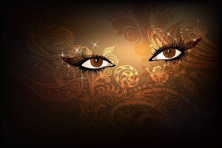 lash: Dark background with beautiful brown  eastern shining sparked eyes.  Illustration