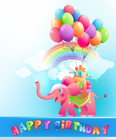 Happy birthday festive background with pink elephant and  multicolored air balloons.  Vector