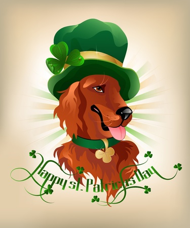 Happy st. Patrickes Day background with Irish setter and text. Ilustrace