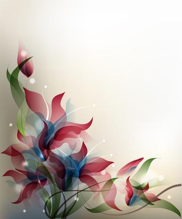 식물상: 투명 그라데이션 양식에 일치시키는 꽃 배경입니다.