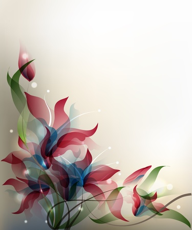 Background with transparent gradient stylized flowers.