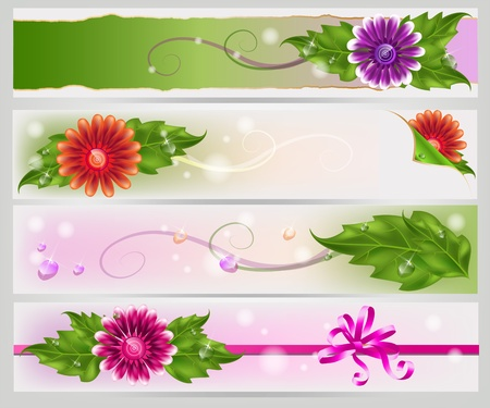 with space for text: Multicolored gradient mesh flowers decorative banners set. Illustration