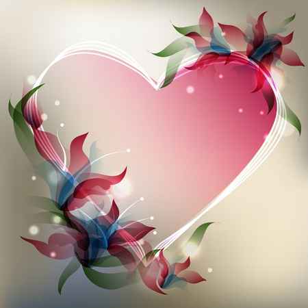 Background with transparent gradient stylized flowers  and heart shape.  Vector